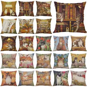 18-034-Cartoon-Cat-Cotton-Linen-Pillow-Case-Throw-Cushion-Cover-Vintage-Home-Decor