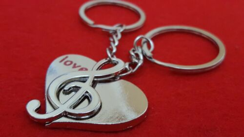 Musical Heart Treble Metal keyring  gift for her,him,anniversary Birthday+Pouch