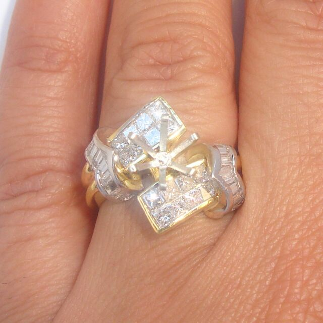 Stunning 1.45ct Diamond Solid 18K Y/W 2Tone Gold Semi Mount Ring Fine Jewelry