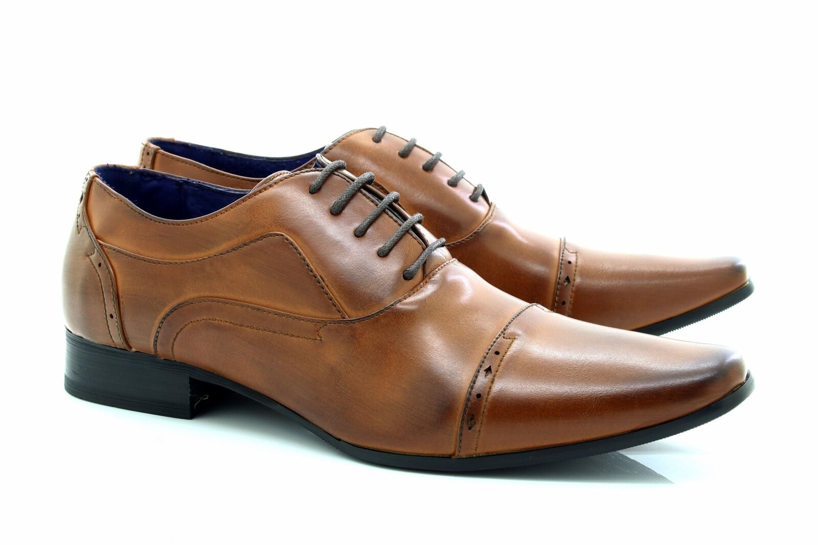 045bd54a94c Mens Route21 M9549 Smart Oxford Formal Lace Up shoes Brown Burnished PU