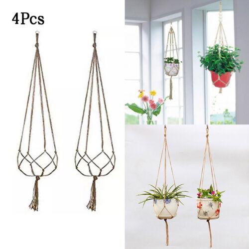 Large Pot-Holder Macrame Plant Hanger Solid Rope Braided Hanging Planter Basket