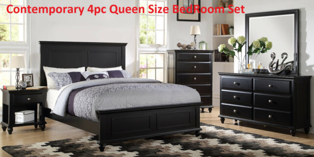 Contemporary Black B.Room Set 4pc Bed Dresser Mirror Nightstand Queen Size