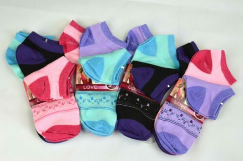 Sneaker Damen 12 Paar LOVE Socken Strümpfe Mädchen bunt colors