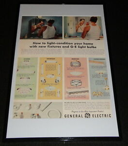 1955-General-Electric-Light-Bulbs-Framed-ORIGINAL-11x17-Advertising-Display