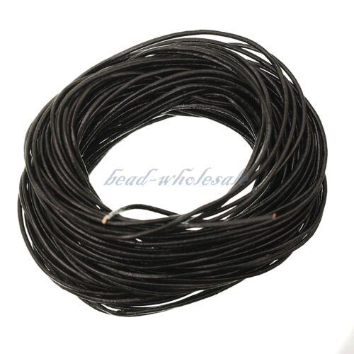 DonDon Lederband rund 15 Meter Rolle schwarz 2 mm