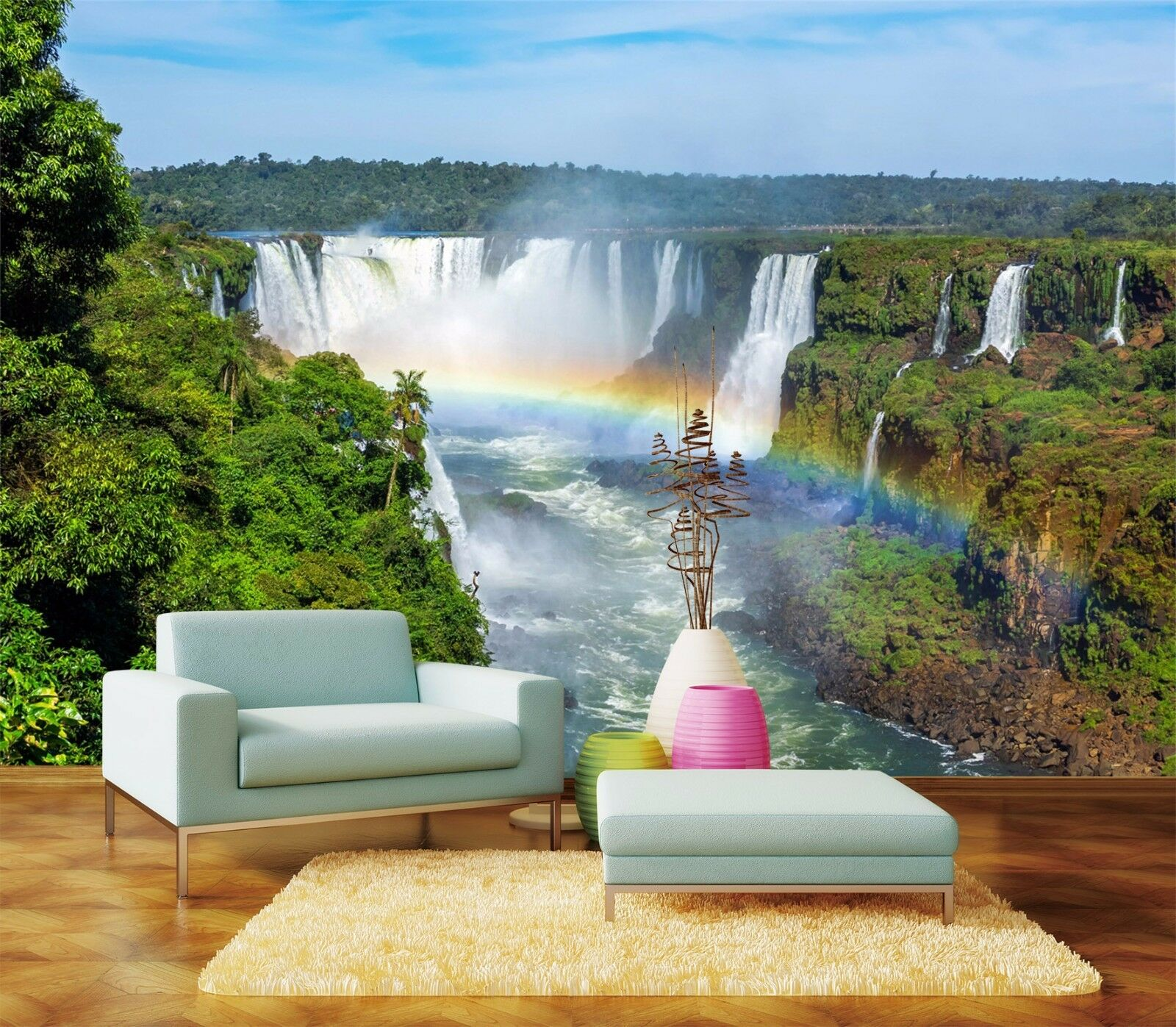 3D waterfall River trees Wall Paper Print Decal Wall Deco Indoor wall Mural