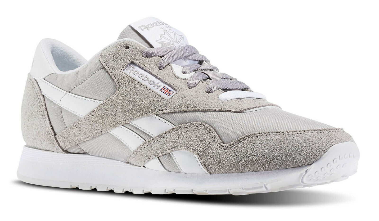 Reebok Classic Nylon Whispher Grey, White Mens Running Tennis Shoes