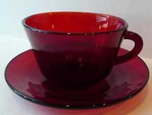 Arcoroc-Luminarc-France-Glass-Cup-and-Saucer-Set-Ruby-Red