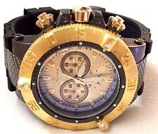 Men's Oversize Fashion Watch Geneva MC41535 Black Silicone Band Gold Dial