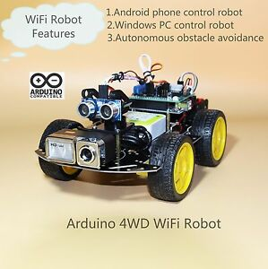 Details about WiFi Video Robot with HD Camera , Programmable 4WD Smart Car  kit (Style one)