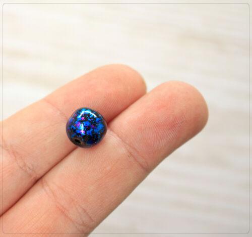 10 pintadas en abalorios perlas joyas DIY negro azul rosa abstracto 10mm bala