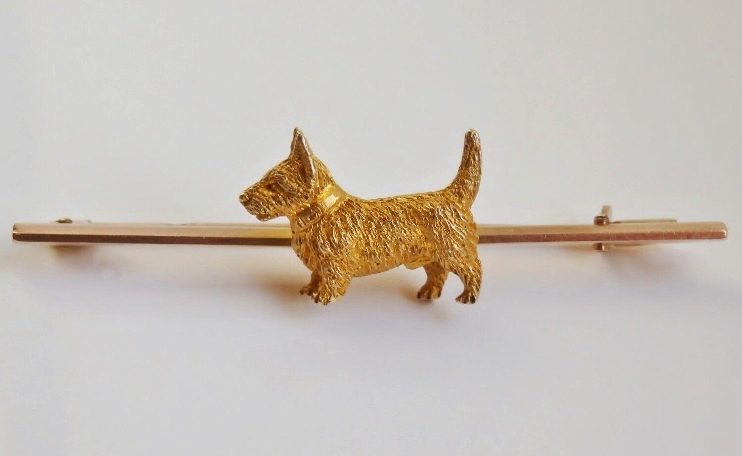 15ct oro Antico Terrier scozzese  Scottie    Cane Spilla c1900 alabastro & Wilson a58526