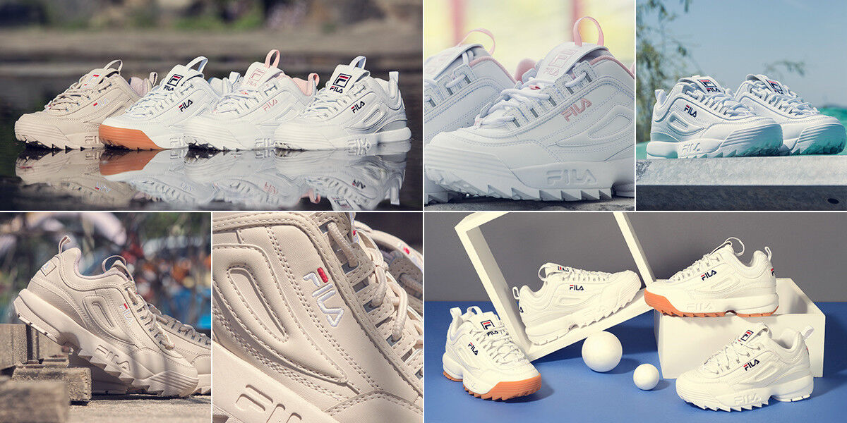 FILA Pink Disruptor II 2 White Pink FILA Shoes Running Unisex Size UK 3-9 FS1HTA1074X_WPK 0eaeae
