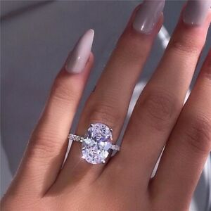 Ladies Luxury Oval White Sapphire 925 Silver Promise Ring Wedding Jewelry Gift