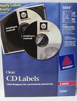 Avery 5694 Clear Cd Labels For Laser Printers 40 Disc 80 Spine Labels