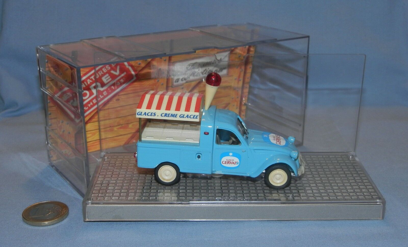 NOREV TIROIRE 1 43   CITROEN 2CV PICK UP GLACES GERVAIS (EDITION 1990)
