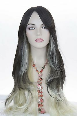 Dark Brown-Tipped/Mixed Light Pale Blonde Fun Color Long Skin Top Straight  Wigs