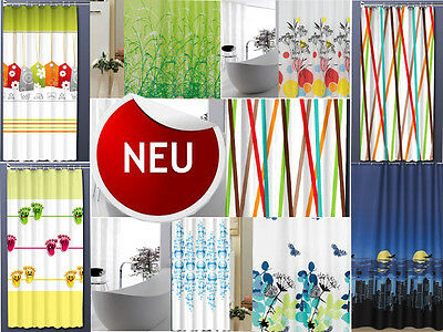 Textil Duschvorhang 180 x 200 cm ELEGANTE NATUR  Grün Türkis Blau Weiss /& Ringe