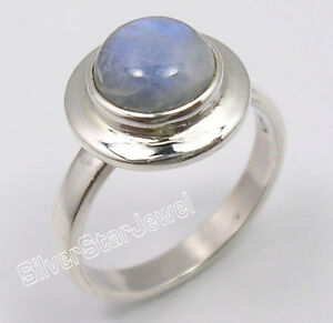 925-Solid-Silver-Amazing-BLUE-FIRE-RAINBOW-MOONSTONE-BESTSELLER-Ring-Any-Size