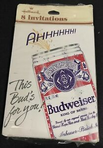 Vintage-Hallmark-Budweiser-Beer-Invitations-8-Invites-Cards-New-Unused-in-Pkge