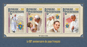 Central-African-Republic-2016-MNH-Pope-Francis-80th-Birthday-Anniv-4v-M-S-Stamps