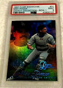 MIKE-PIAZZA-1997-FLAIR-SHOWCASE-ROW-1-LEGACY-HOLOGRAPHIC-FOIL-35-100-PSA-9-POP-1