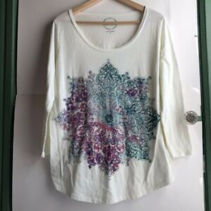 LUCKY-BRAND-Cream-Ivory-Pink-Teal-Blue-Mandala-3-4-Sleeve-Graphic-Tee-Top-Large