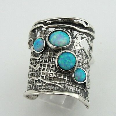 Hadar Jewelry Handcrafted Sterling Silver Opal Ring size 8 (H 144)