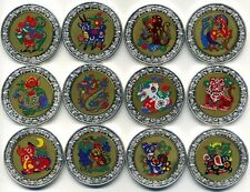 MALAWI 2005  LUNAR 12x 5 KWACHA SILVERPLATED 24k GOLD PLATED DISK PROOF