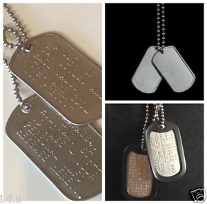 MILITARY DOG TAGS ID TAG CUSTOM US ARMY STYLE STAINLESS STEEL ... 41b4a66b9e23
