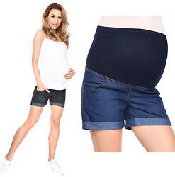 Kurze Jeans Umstandsshorts / Umstandshose mit Bauchband für Sommer 3086
