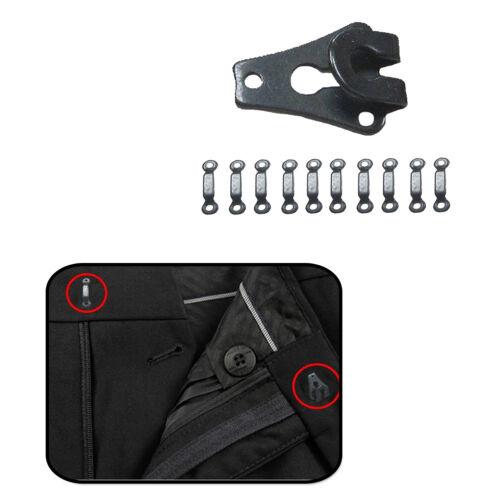 9mm Gunmetal BARRA PANTALONE gancio chiusura di bloccaggio Sew sul Cintura Riparazione Gonna Capanno CHIUSO DA 10pcs