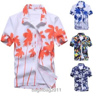 Mens-Hawaiian-T-Shirt-Summer-Floral-Printed-Beach-Short-Sleeve-Tops-Blouse-Hot