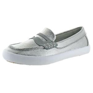 f4e6382b8b3 NEW  75 Cole Haan Girls Pinch LTE SILVER Penny Loafers 5 B Medium ...