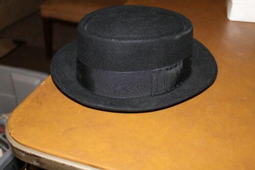 Mens Bailey Black Wool Felt Pork Pie Hat Medium