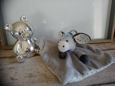 cadeau Doudou plat âne cheval gris blanc pois bleus étiquettes Obaibi