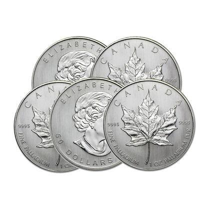 Lot of 2-1 oz Canadian Palladium Maple Leaf $50 Coins .9995 Fine Random Years