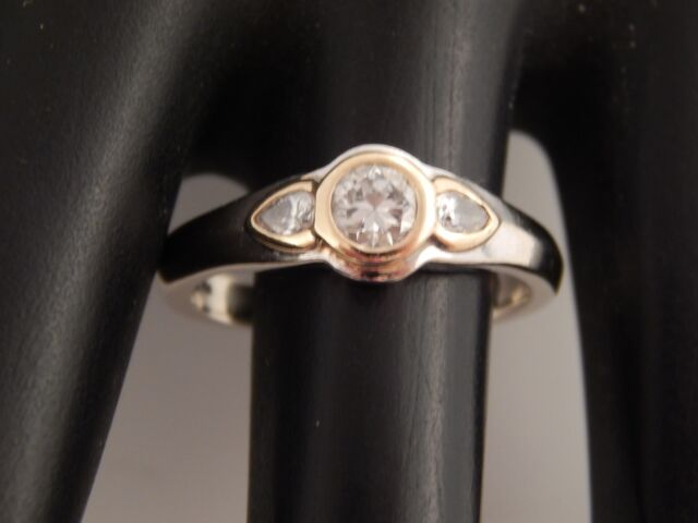 Art Deco Bezel Set Diamond 3 Stone Ring .61 tcw 14k Transitional Cut F/VVS2