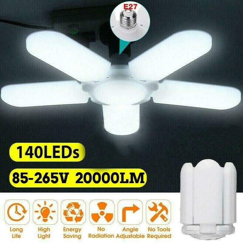 20000LM 75W E27 5 Blades LED Garage Lights Deformable Ceiling Light Fixture Lamp