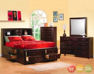 Details about Phoenix King Storage Bed 6 piece Bedroom Set Cappuccino w 2  Night Stands & Chest