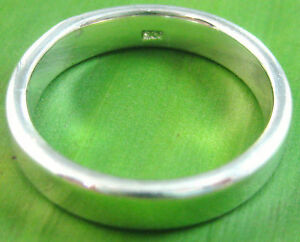 925-sterling-silver-plain-THICK-5mm-flat-wedding-band-Ring-size-4-25-US-11-5-US