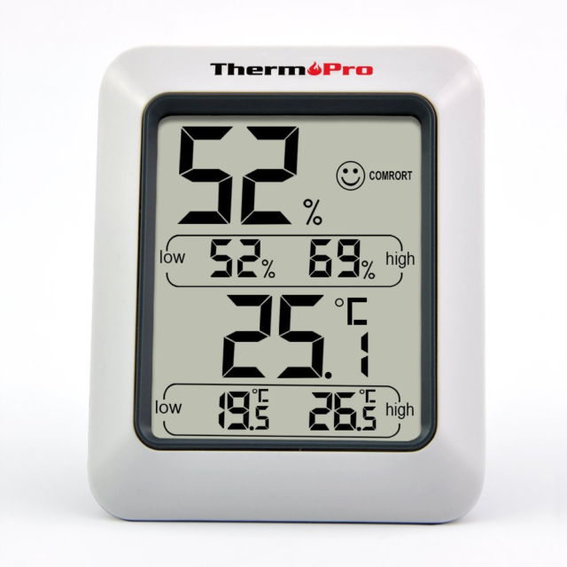 ThermoPro TP50 digitales Thermo-Hygrometer Thermometer Raumklimakontrolle Weiß
