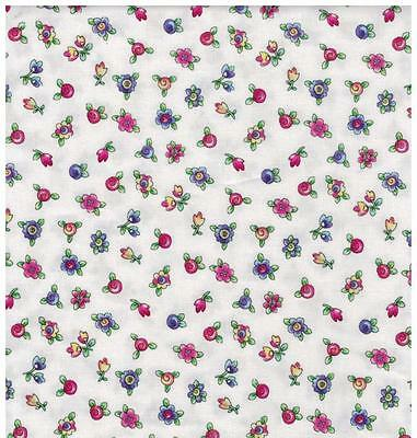 Topsy Turvy Bright White Pink Blue Green Flower Butterfly Bug Baby Quilt Fabric