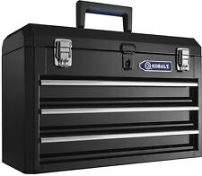"Tool Box Steel Organizer 3 Drawer Chest Storage Portable 20.6"" Black Lockable"