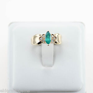 LADY-S-0-50-CT-EMERALD-amp-DIAMOND-COCKTAIL-RING-14K-YELLOW-GOLD-SIZE-US6-25