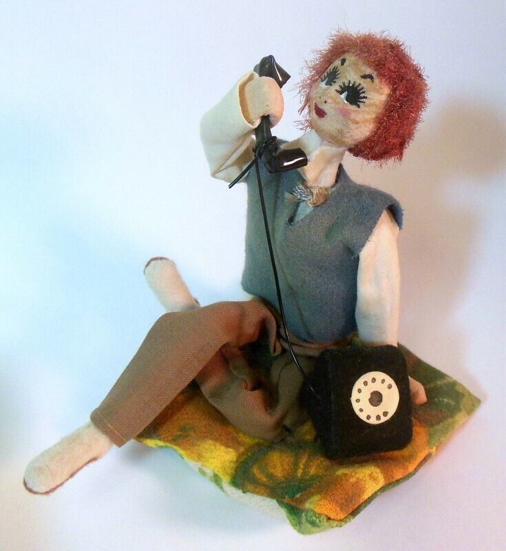 RARE Vtg  CMasseh Doll Person on Rotary PHONE Girl Man ANDROGYNY  1960's