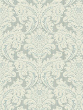 "12""/31cm Wallpaper SAMPLE     Magnificent Blue & Cream Strie Damask"