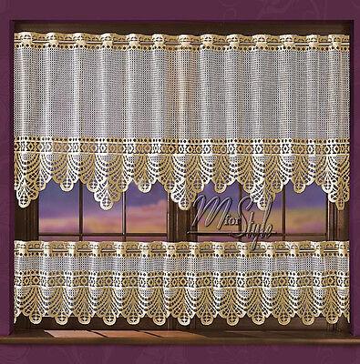 "Lace Cafe Net Curtain Cream / Golden beige 17"" & 36"" Drop Price Per Metre"