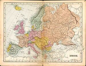 1887 Map Europe Russia France Sweden Germany Austria Italy Etc