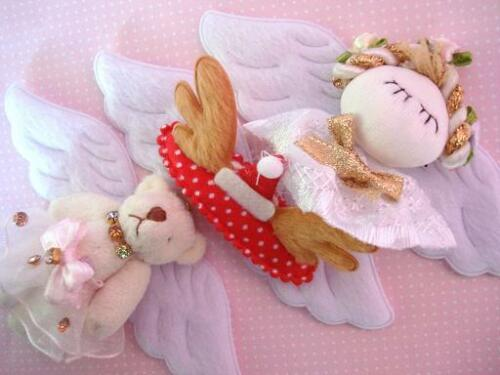 20 Pairs White 10cm Wide Angel Wing Faux Fur Applique//Trim//craft//doll H405-4/""